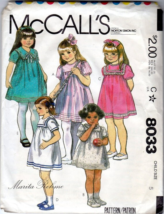 "Little Girls' Dress Pattern - Size 5, Chest 24"" - McCall's 8033"