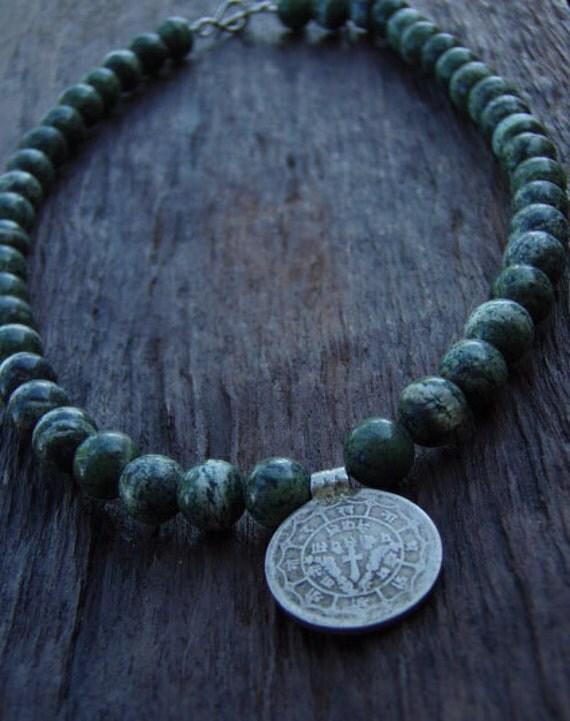 RESERVED--Strength and Worthiness -- Antique Tibetan coin Zebra Jasper beaded choker