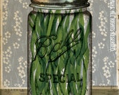 "Canning Ball Jar Green Beans Blue Wallpaper Putting Up The Season Series 8"" x 10"" High-Quality, Archival Print: Green Beans"
