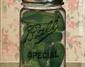 "Canning Ball Jar Green Pickles Pink Floral Wallpaper Putting Up The Season Series Large 16"" x 20"" Canvas-Wrapped Frame: Pickles"
