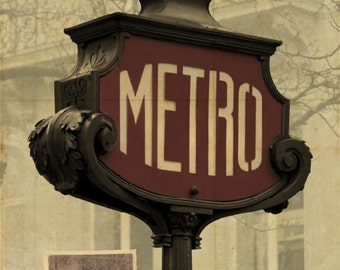 "Paris Metro Street Sign Large 16"" x 20"" Canvas-Wrapped Frame: One"
