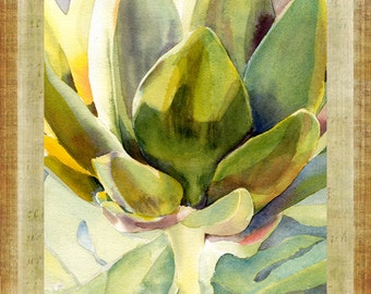 "Artichoke Watercolor Green Gold Purple Large 16"" x 20"" Canvas-Wrapped Frame: Two"