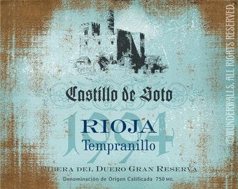 "Wine Label Spanish Rioja Red Tempranillo 20"" x 16"" Canvas-Wrapped Frame: Spanish Rioja"