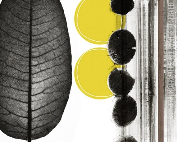 "Mod Organic Botanicals Leaf Wood Chartreuse Circles High-Quality, Archival 10"" x 8"" Print: One"
