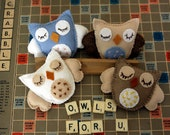 Custom Order - Four Baby Owls for Mobile in Neutrals - Reserved for Caitlin