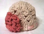 Sophie Series Baby Girl Hat in a Shell Pattern with Ruffled Flower