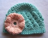 Light Turquoise Shell Beanie with a Peach Flower