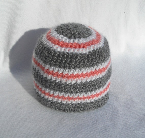 HALF PRICE- Grey and Coral Striped Beanie in Newborn