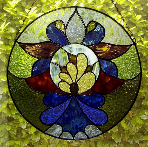 Zenith Stained Glass Abstract Mandala Lotus Flower Suncatcher