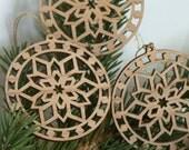 Snowflake pendant ornaments: Set of three, wood cut decoration