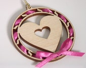 Wooden Heart Pendant wood decoration with decorative ribbon and gold cord for attaching