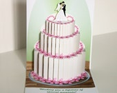 Pop up Wedding Cake card Wedding cake with Bride and Groom topper