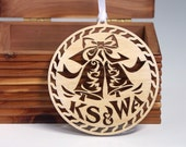 Wedding Bells wooden ornament Intricately cut favor tag
