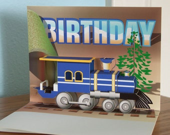 Train Birthday Pop up card; Blue train engine pop up card