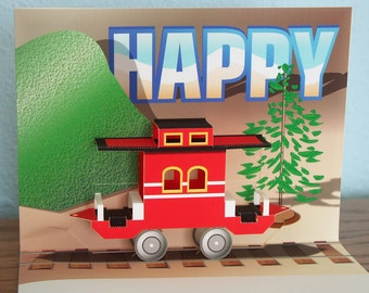 Pop-up Birthday Card Red Train Caboose