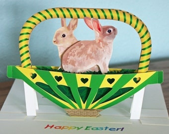 3D Pop up Easter Card Bunnies in Green and Yellow Basket