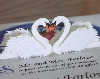 Pop up Swan Wedding invitation Reflect on Special Moments