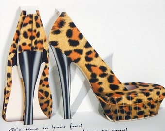 Pop up Birthday Shoes Card, Leopard print high-heeled shoes Card