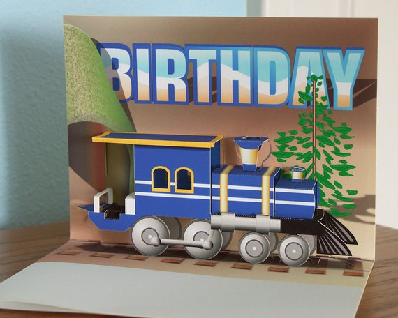 Train Birthday Pop up card; Blue train engine pop up card