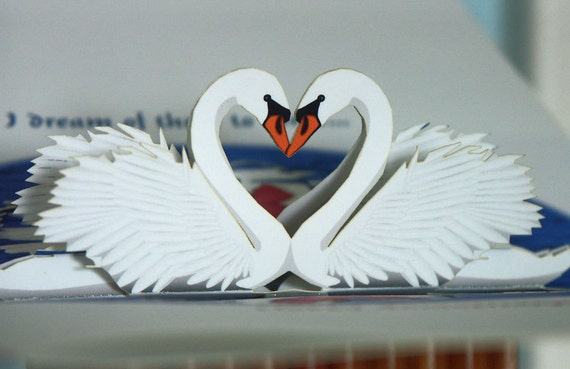 Swans Pop-up Anniversary Card Reflect on Special Moments