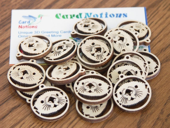 Sea Otter 10 pairs wooden supply for jewelry tag crafting