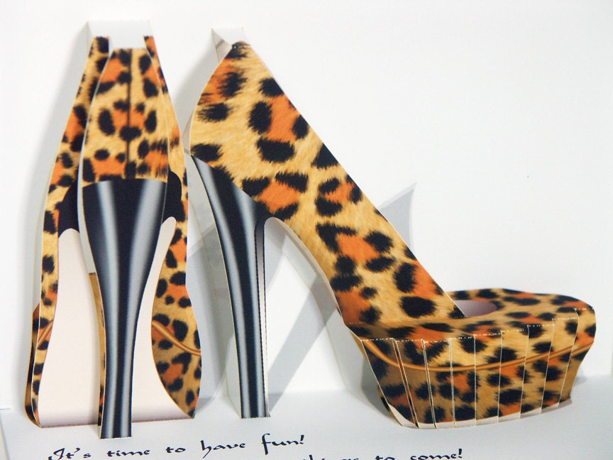 pop up birthday shoes card leopard print high heeled shoes. Black Bedroom Furniture Sets. Home Design Ideas