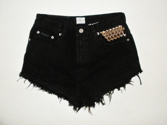 Vintage HIGH WAIST Calvin Klein STUDDED Destroyed Cut Off Shorts
