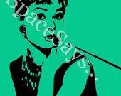 Audrey Hepburn Hand Painted Pop Art Portrait on 11x14 Canvas
