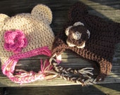 Crochet baby girl teddy earflap hat with flower. Made to order