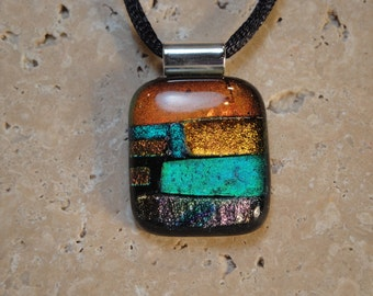 Fused Dichroic Glass Multi-Colored Pendant - BHS01204