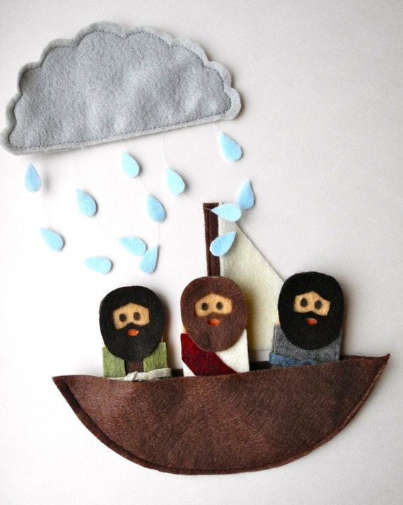 Bible Story finger puppets - Jesus calms the seas, walks on water, Jesus and apostles or disciples