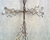 White and Gold Beaded Wire Cross - Gifts Under 30