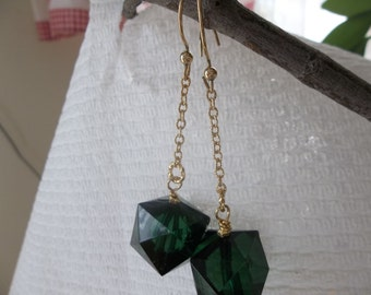 Forest Green Acrylic Bead Earrings with Gold Filled Chain
