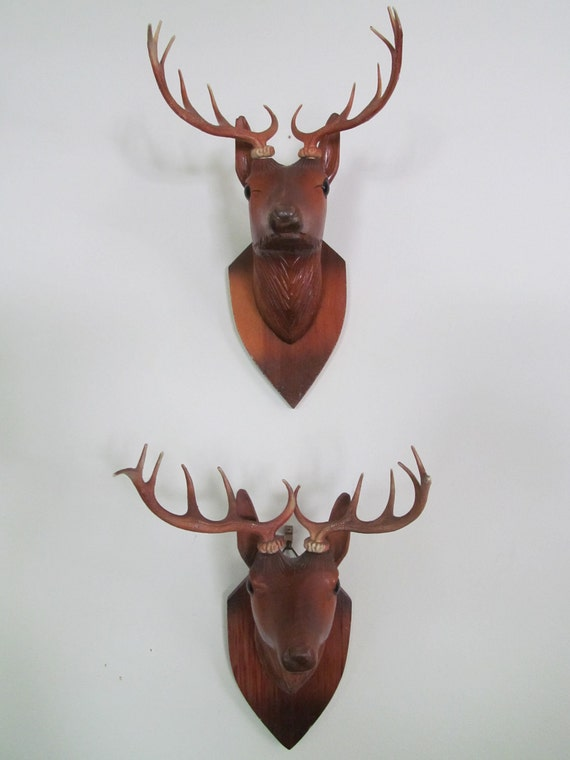 Vintge Unique Minature Wall Mount Deer Head Mounted On Wooden