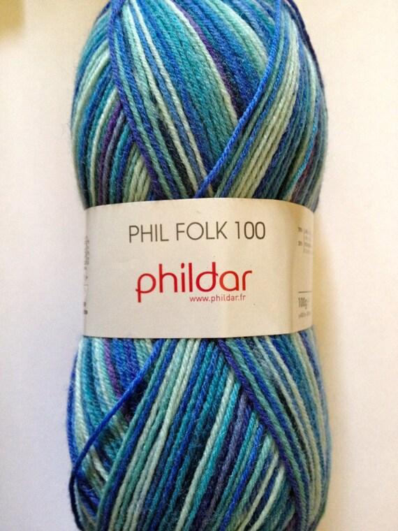 Folk Sock Yarn by Phildar, self patterning 100 gm shade 101