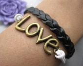 bracelet---antique bronze love bracelet,love bracelet, love braid bracelet,black braid bracelet---Z223