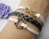bracelet---karma bracelet,infinitywish bracelet,brass karma bracelet,black braid bracelet---Z265