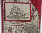 Hand-Crafted, 3-Dimensional, Embossed and Layered, Birthday Card With Sailing Ship