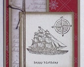 Hand-Crafted, 3-Dimensional, Layered, Birthday Card with a Sailing Ship
