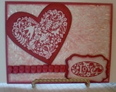 Handmade, 3-Dimensional, Stamped and Layered, Valentine's Day Card