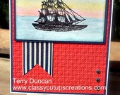 Hand-Crafted, 3-Dimensional, Layered Nautical Father's Day Card