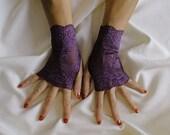 Dusty Purple Lace Fingerless Gloves  - Stretch Lace Fingerless Gloves