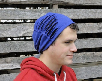 Black & Blue Slouchy Beanie - Men or Women - Distressed Slouchy Beanie - SALE