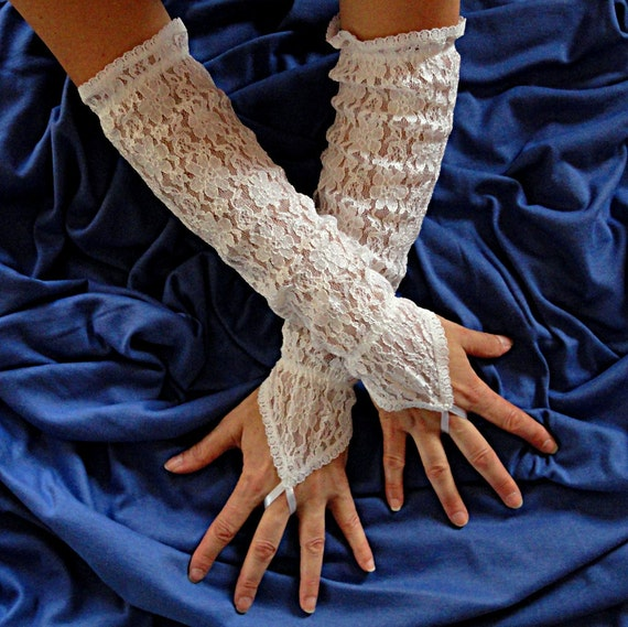 Extra Long White Lace  Gloves - White Wedding Lace Gloves