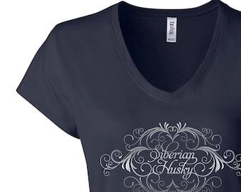 Elegant Siberian Husky V-neck Tee