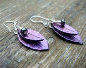 Purple and Red Leaf Earrings - Polymer Clay Jewelry - Dangle Earings - Glass bead - Sterling silver