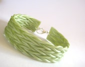 Polymer Clay Cuff - Sage Green Bracelet - Woven / Braided / Knit