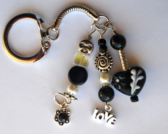 Black and White Decorative Keychain with Heart Lampwork Bead
