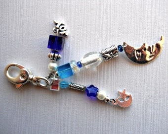 Blue and Silver Decorative Clip with Moon charms