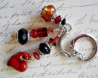 Red, Gold and Black Beaded Keychain with stone heart
